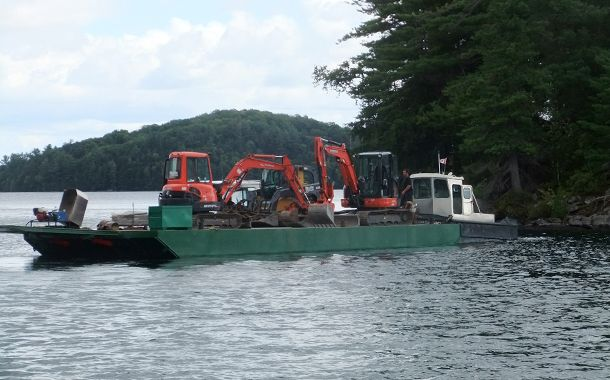 lake barge backhoe