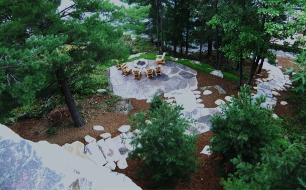 above flagstone patio