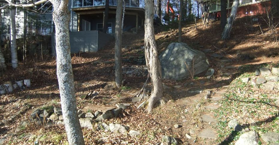 Before: Old stone path down a hill