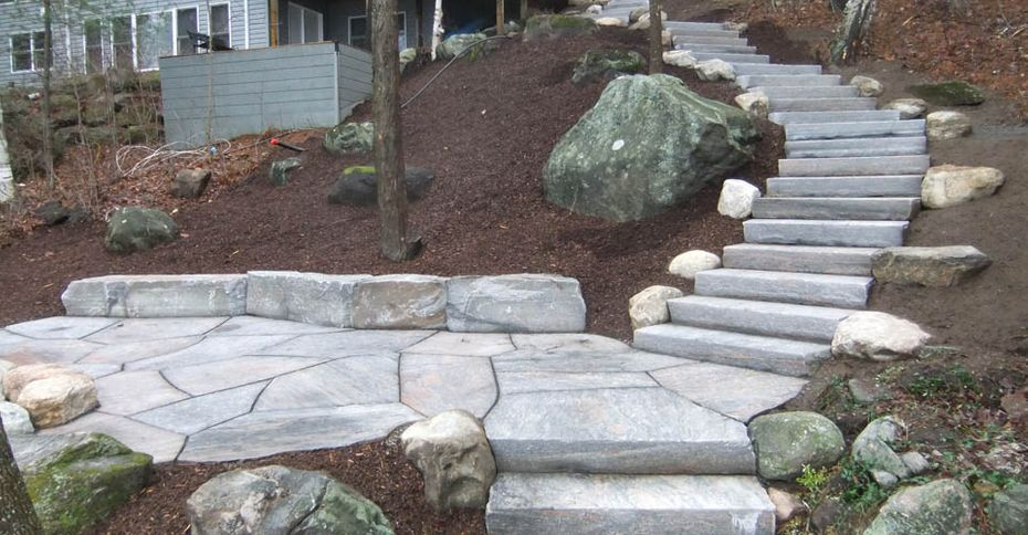After: A large, nicer stone path down a hill
